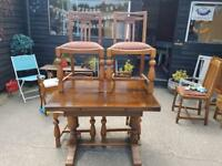 1940s oak draw leaf table and FOUR chairs