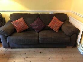 Pair of Brown 3 Seater Dansk Sofa's