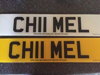 Personalised number plate CHII MEL for sale on retention