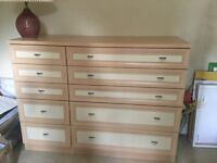Light coloured chest of drawers suitable for children's bedroom