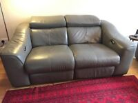 Furniture Village electric recliner grey leather sofa (two available)