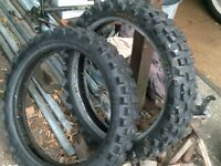 motor bike tyres, nobbly,scrambler off road, matching pair,used.michelin