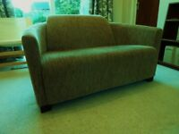 Sofa 2 seat compact modern style, fawn/brown quality corduroy, very good condition.