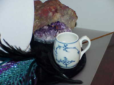 German Design Meissen Style Strawflower Porcelain Handled Toothpick Mug Antique