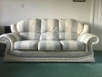3 seater sofa with 2 arm chairs in ivory stripe damask in immaculate condition
