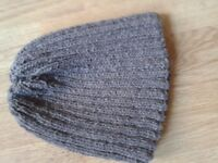 hand knitted 100% wool beanie hat