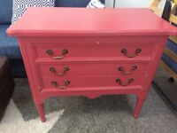 Red painted chest of 3 drawers, a few little knocks in the paintwork