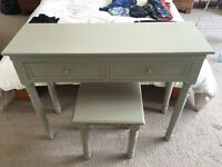 Dressing table and stool, green/grey colour