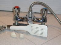 chrome bath shower mixer taps with shower head.