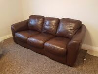 2 x Three Seater Leather sofas good condition, ready to collect. £200 for the pair!