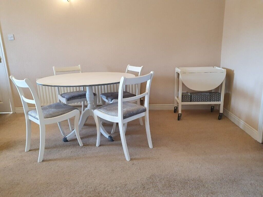 White Grey Round Chalk Painted Dining Table And 4 Chairs In Brighouse West Yorkshire Gumtree