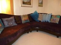 DFS Double contour sofa, chair and footstool, chocolate velour and leather