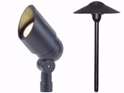 Low Voltage Landscape Lights Kit 1 Spot & 1 Mushroom Path Light in Black Finish (Landscape 1 Kit)