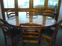 Ducal Pine Extending Dining Room Table + 6 Pine Ducal Dining Chairs