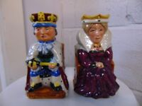 Staffordshire Fine Ceramic Hand Painted 'King and Queen' Toby Jugs