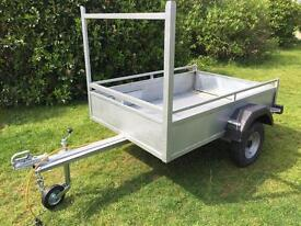 Trailer steel frame & sides with grab tie rails new jockey wheel removable drop tail gate ply floor