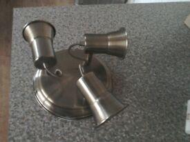 Light fitting 3 lamps antique brass effect