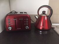 Beautiful red toaster and kettle pair!