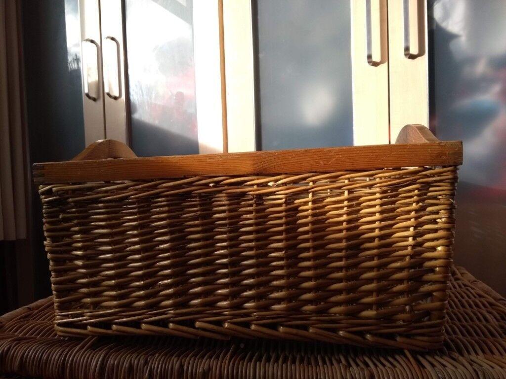Large Wicker Basket With Wooden Handles In Somerset Gumtree
