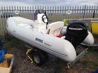 Brigg 4m Rib 30hp Mercury outboard motor