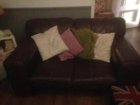 Two and three seater leather sofas