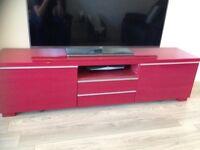 IKEA besta burs tv unit , red high gloss