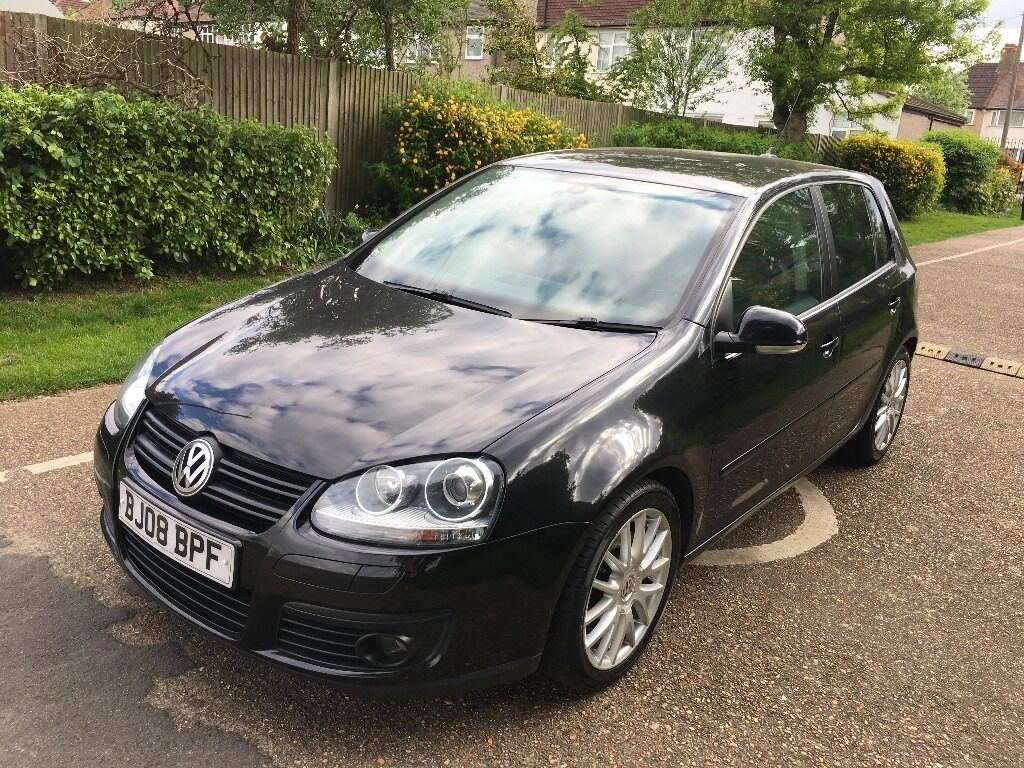 2008 vw golf 2 0 gt tdi dsg diesel automatic 5 door black 1 owner sat nav in sutton london. Black Bedroom Furniture Sets. Home Design Ideas