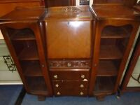 vintage bureau with 4 drawers 2 display cabinets