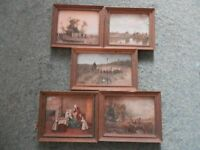 5 framed Medici society miniatures of classic pictures
