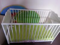 Nice Baby Cot (120cm x 60cm) , Cot Top changer, Mattress, cushions and Safty gate