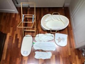 Mamas & Papas Moses Basket with Organic Cotton Mattress and extras