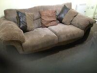 Two tone Brown Corduroy Sofa DFS