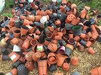 Large quantity of small & medium plastic plant flower pots