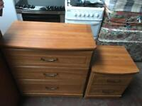 Matching chest of drawers and bedside cabinet can deliver