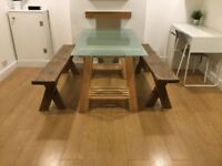 Glass Top Dining Table with Wooden Benches