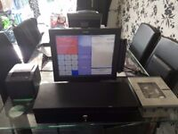 EPOS POS system till with cash draw, scanner, printer.
