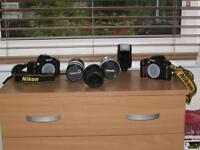 CAMERAS - 2 Nikon F80 35mm SLR Bodies, Sigma, Tamron n Cosina lenses, Nikon spdlight aluminium case