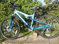 As NEW cost £169, Mint Adults full suspension Mtn Bike, disc brake, lights, 26in Wheels ,