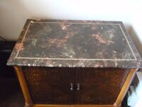 Peiod High Fidelity Unit. Marble top with two decorated doors opening to draw and pull out shelf