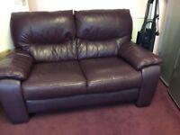 2 & 3 seater leather sofas dark purple