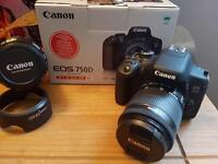 Canon 750D camera and 2 lenses