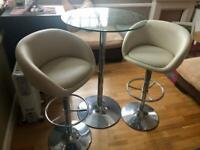 Bistro Glass Table and Two Bar Chairs