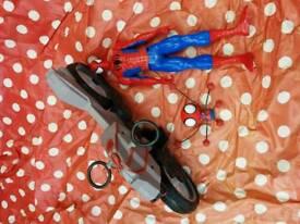 Large Spiderman figure and motorbike