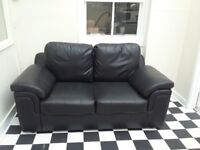 Excellent Condition Black Faux Leather 2 Seater Sofa