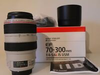 Canon EF 70-300mm f/4-5.6 L IS USM Canon EOS + UV HOYA FILTER. Mint Condition