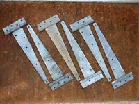 """6 vintage 16"""" T - HINGES, 41cm, heavy duty gate, shed, garage door - galvanised"""