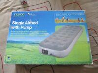 single air bed and pump boxed