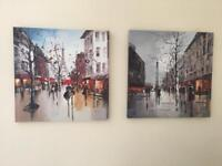 2 x city printed canvases