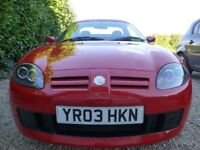 STUNNING RED MG TF IN IMMACULATE CONDITION. VERY LOW MILEAGE