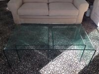 Glass coffee table with 2 nesting side tables